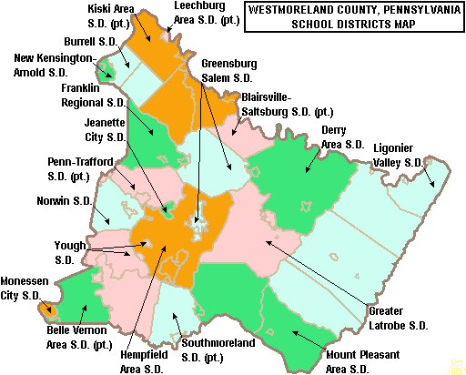 Map of Westmoreland County Pennsylvania School Districts