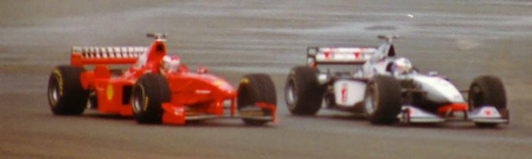 Schumacher and Coulthard in the 1998 British Grand Prix