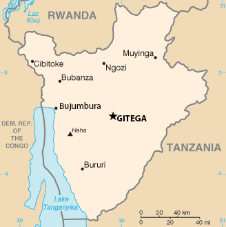 tan colour map of Burundi with cities