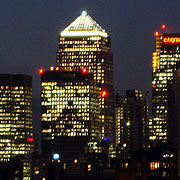 Canary Wharf buildings at night