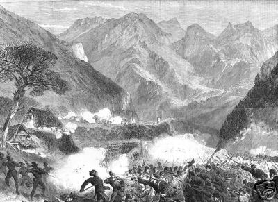 Illustrated London News - 11 agosto 1866. Combattimento fra garibaldini e austriaci a Bezzecca