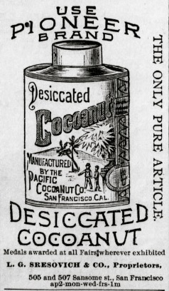 1890 newspaper advertisement showing tin of desiccated cocoanut