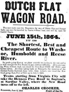 Advertisement for Dutch Flat Wagon Road, 1864