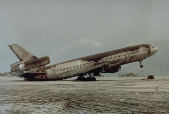 DC-10-30 resting on its tail due to Pinatubo ashfall