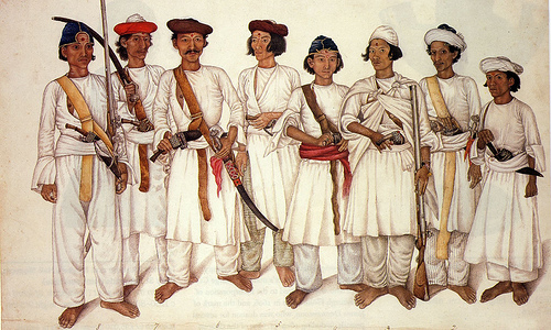 Eight Gurkha men depicted in a British Indian painting, 1815