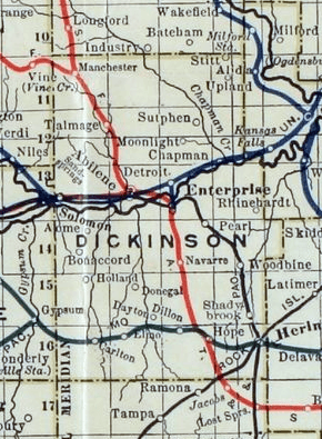 Stouffer's Railroad Map of Kansas 1915-1918 Dickinson County