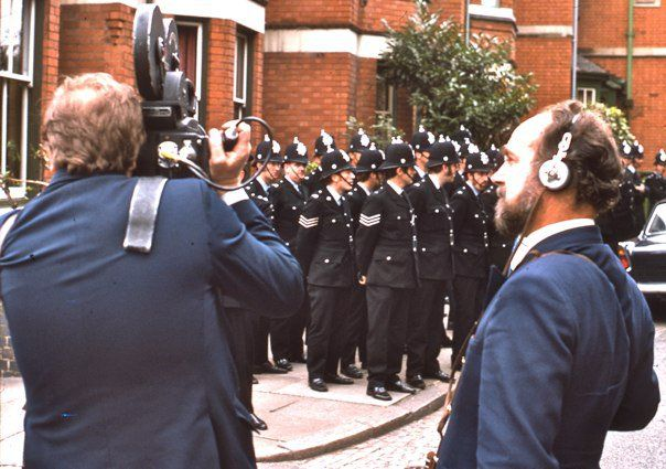 Cameraman and soundman filming police in Leicester, England, 1974