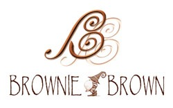 Brownie Brown logo, in brown, containing a gnome between the words