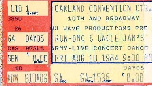 Nu Wave Productions - Uncle Jam's Army and Run D.M.C. August 10, 1984 Concert (ticket)
