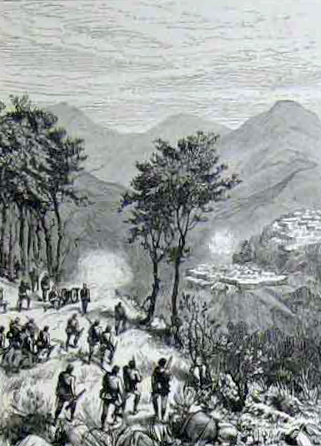 The Lusei Lushei Looshai expedition in Mizoram sketched by Lieutenant BWG Cole in Illustrated London News 1889