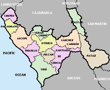 Map of La Libertad region