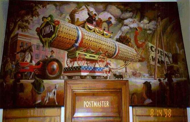 Wall Mural, Mt Ayr, IA Post Office, 1998