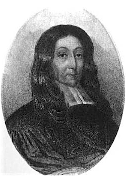Sketch of a man with long flowing hair who is wearing the bib of a colonial-era minister.