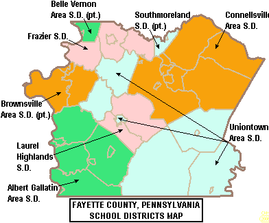 Map of Fayette County Pennsylvania School Districts