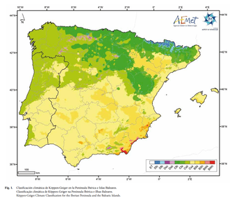 Official Köppen climate classification of Spain maded by AEMET