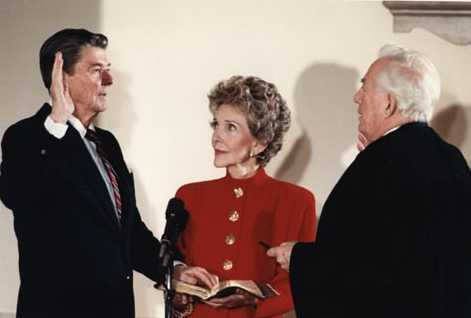 President Reagan being sworn in for second term during the private ceremony held at the White House 1985