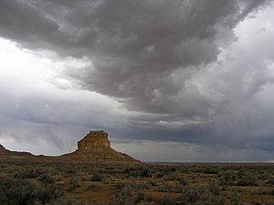 Chaco Canyon Fajada Butte summer stormclouds