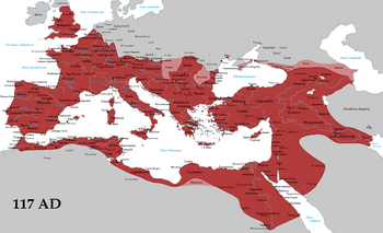 The Roman Empire at its greatest extent, 117 AD, the time of Trajan's death (with its vassals in pink).