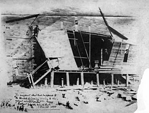 Storm damage to the original Christ Church at Milton in 1890