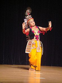 A Manipuri Dancer in traditional Krishna attire