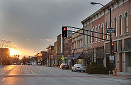 East Main Street at Broadway Avenue Urbana, IL sunset