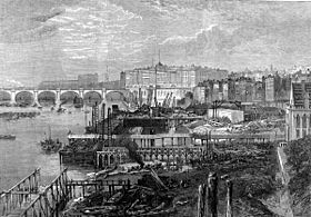 Embankment Construction of the Thames Embankment ILN 1865