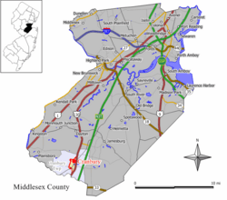 Map of Cranbury CDP in Middlesex County. Inset: Location of Middlesex County in New Jersey.