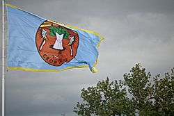 Crow nation flag at Crow Agency