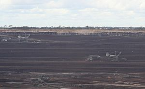 Loy Yang open cut brown coal mine and dredgers