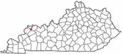 Location of Corydon, Kentucky