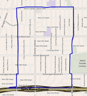 Harvard Heights, as delineated by the Los Angeles Times