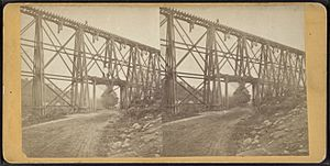 Section of Trestle Bridge on the New York, Boston & Montreal Railway, over the public road, at East Tarry Town, N.Y, from Robert N. Dennis collection of stereoscopic views