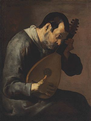 A man playing a lute by Master of the Annunciation to the Shepherds