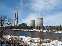 View of Martins Creek Power Station and the Delaware River from the south end of Foul Rift