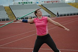 Javelin throw in stadium