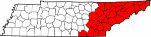 Map of East Tennessee counties