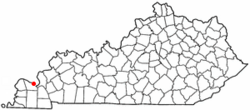 Location of Paducah within Kentucky.