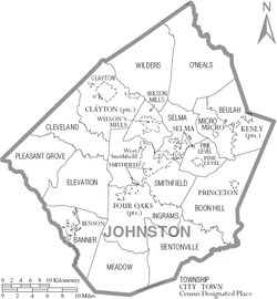 Map of Johnston County North Carolina With Municipal and Township Labels