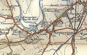 Map of Kempston, Bedfordshire in 1908