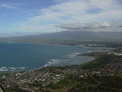Aerial view, with Kahului Harbor in background