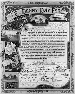 StateLibQld 1 109592 Illuminated address presented to E. Denny Day, Esq., of Avoca at Yeronga, 1913