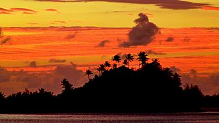 Sunrise over Marara Beach and Motu, Bora Bora, French Polynesia, 3 July, 2012