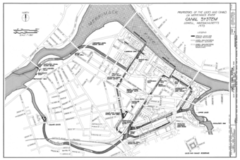 1975 map of canal system in Lowell, Massachusetts.png