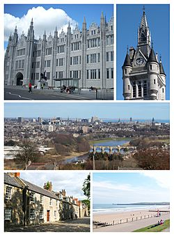 Clockwise from top-left: Marischal College, West Tower of the new Town House on Union Street, cityscape view from Tollohill Woods, Old Aberdeen High Street, Aberdeen Beach