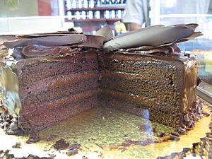 Chocolate cake with chocolate frosting topped with chocolate