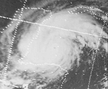 Black-and-white image of Hurricane Carmen near the Yucatán Peninsula