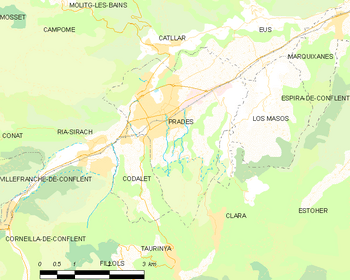 Map of the commune of Prades