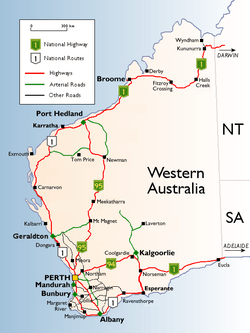 western australian cities towns settlements and road network