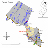 Map of Wayne in Passaic County. Inset: Location of Passaic County highlighted in the State of New Jersey.
