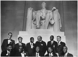 Civil Rights March on Washington, D.C. (Leaders of the march posing in front of the statue of Abraham Lincoln... - NARA - 542063